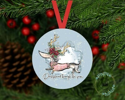 Dachshund through the snow Christmas Tree Ornament