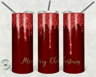 Beautiful Christmas red/gold template for 20oz skinny Tumbler.