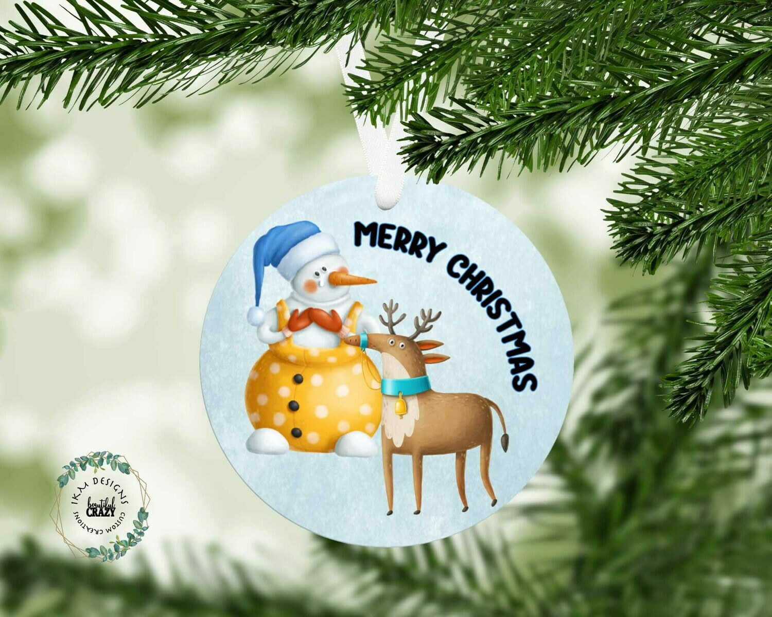 Christmas Snowman template for round ornament blanks