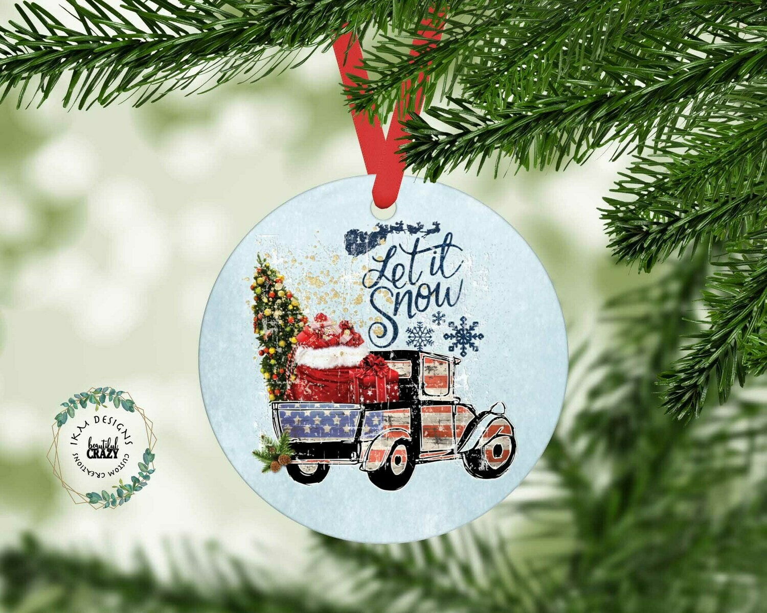 American Truck Christmas Tree Round Ornament Sublimation