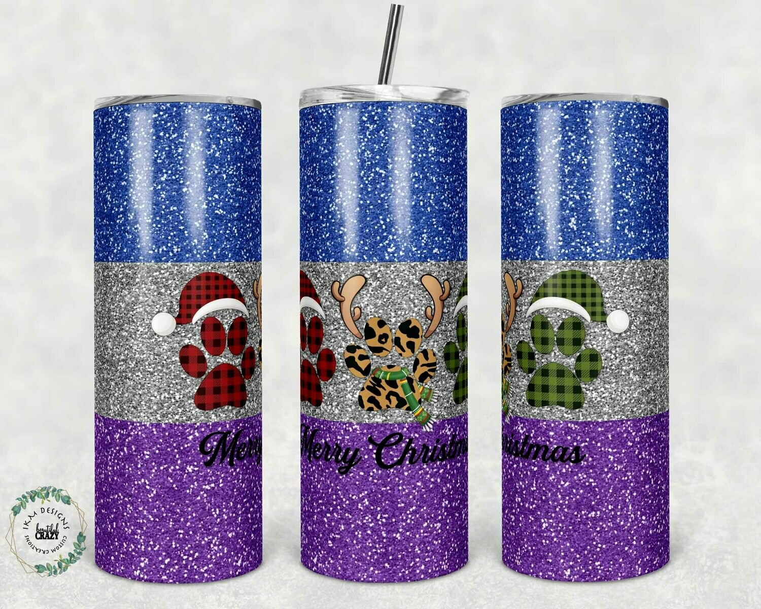 """Paw Christmas"" template for 20oz skinny Tumbler."