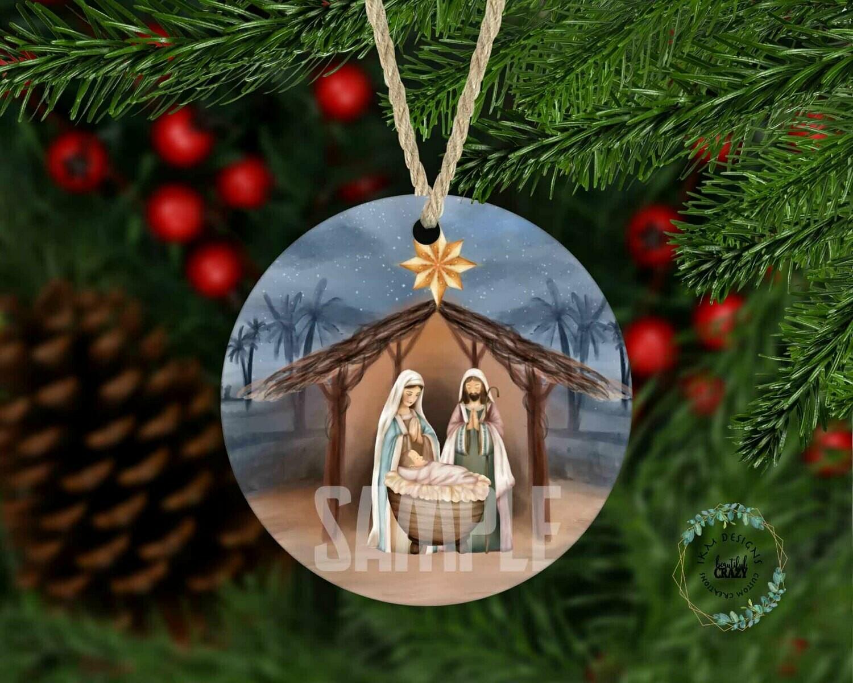 Nativity Scene Tree Round Ornament