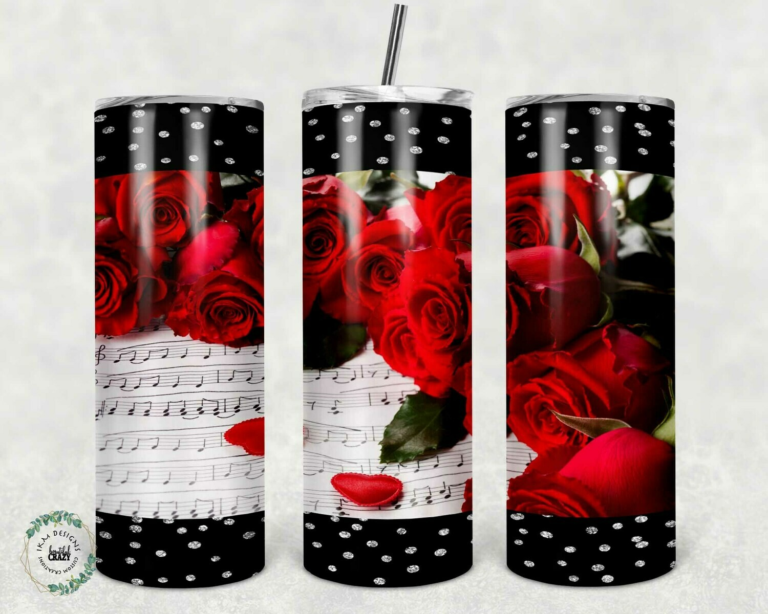 """20oz Skinny Tumbler Valentine Roses Tumbler  "" Digital Download"