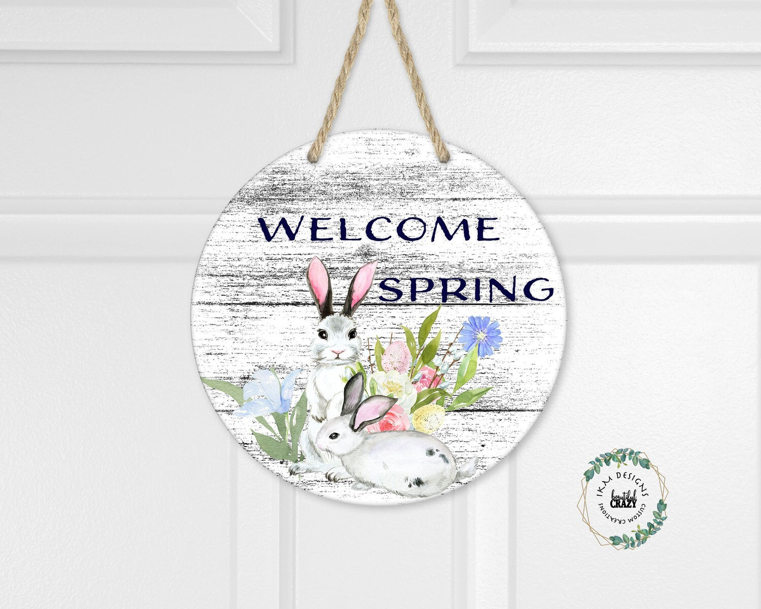 Welcome Spring Round Digital Design for Sublimation