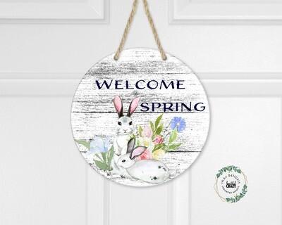 Welcome Spring Round Digital Design for Sublimation