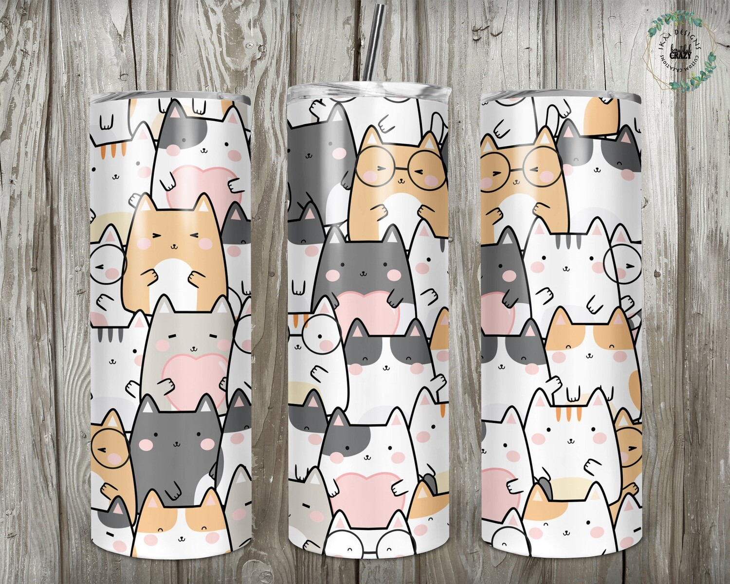 "20oz Fun Tumbler ""Cat Lovers """