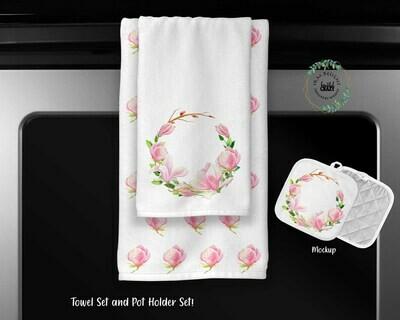 Magnolia Blossom Towel Set