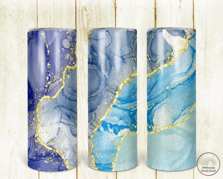 Digital Design for Sublimation 20oz Gold/Blue/Glitter Tumbler
