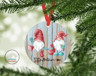 Christmas Elf/Believe Round Ornament for Sublimation