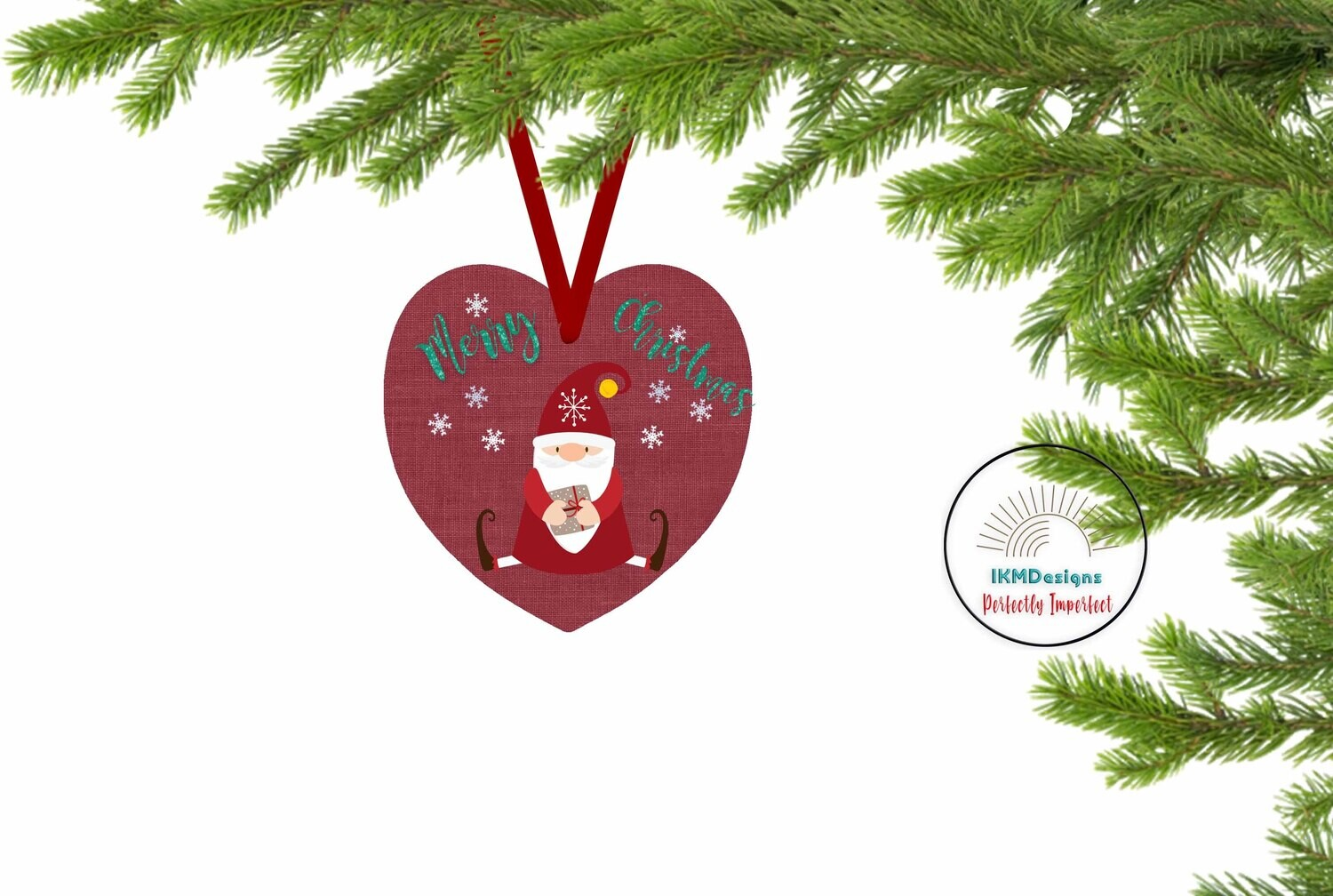 Christmas Heart Ornament for Sublimation