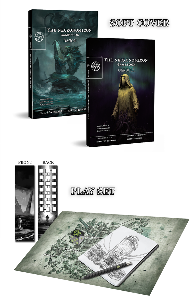 THE NECRONOMICON GAMEBOOK - FULL SET >> DAGON + CARCOSA + PLAYSET