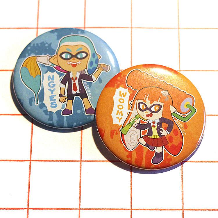 """Splatoon 2.25"""" button/macaron (6 designs)"""