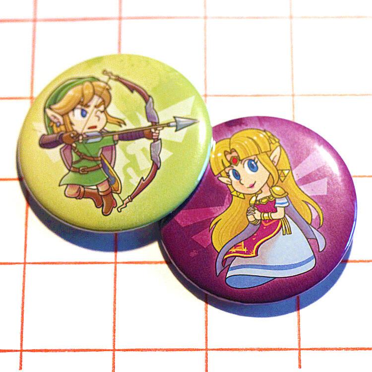 """Legend Of Zelda 2.25"""" button/macaron (9 designs)"""