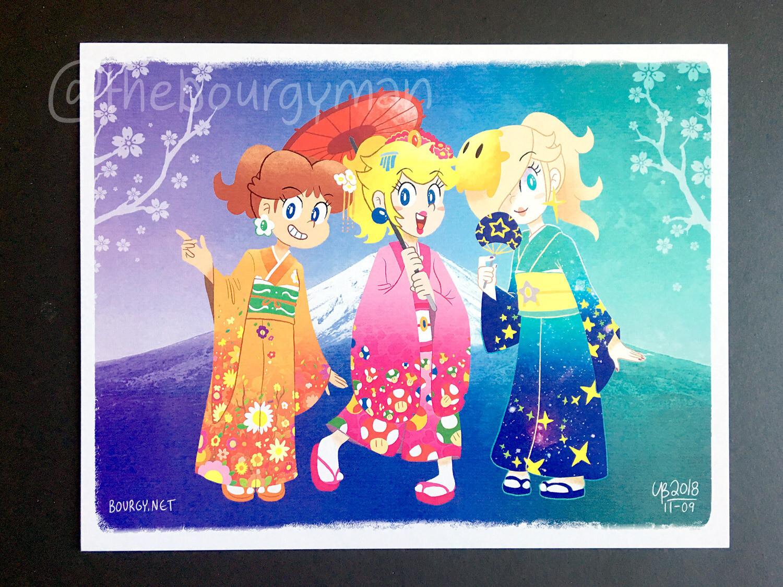 Kimono Princesses (Super Mario) poster/affiche