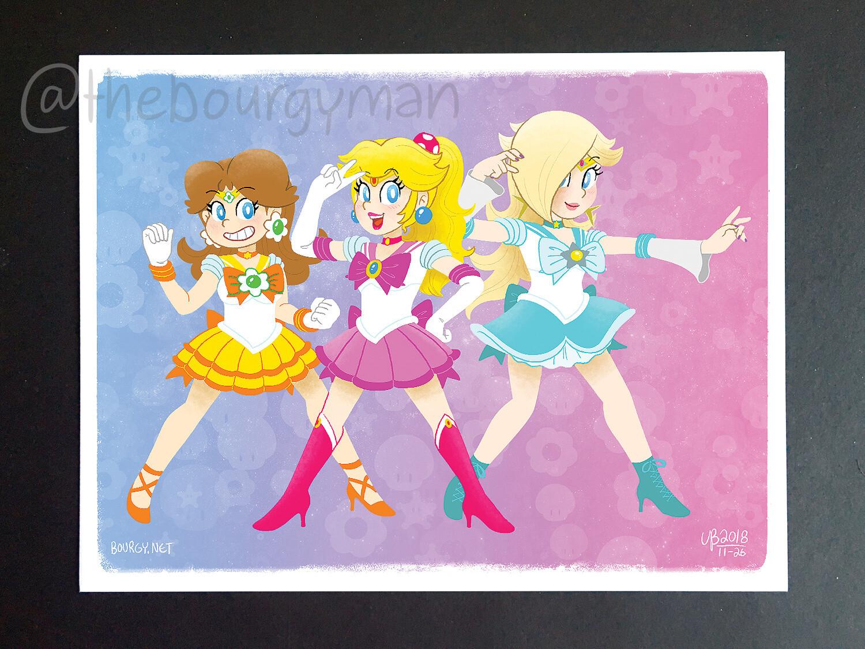 Sailor Princesses (Super Mario) poster/affiche