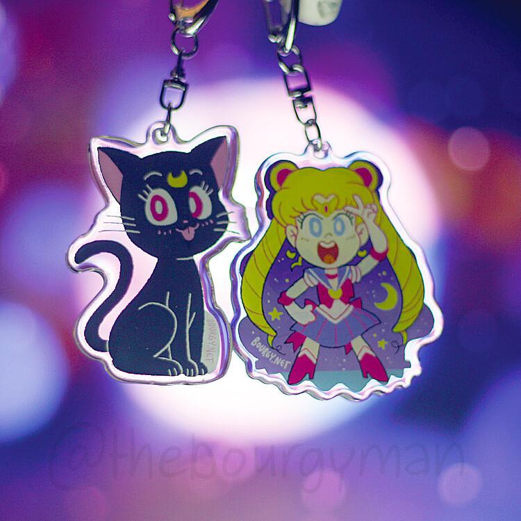 """Sailor Moon 2.5"""" acrylic charm/porte-clé acrylique (9 designs)"""