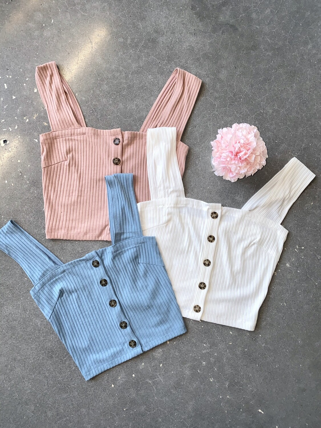 S+M Button Down Cropped Top