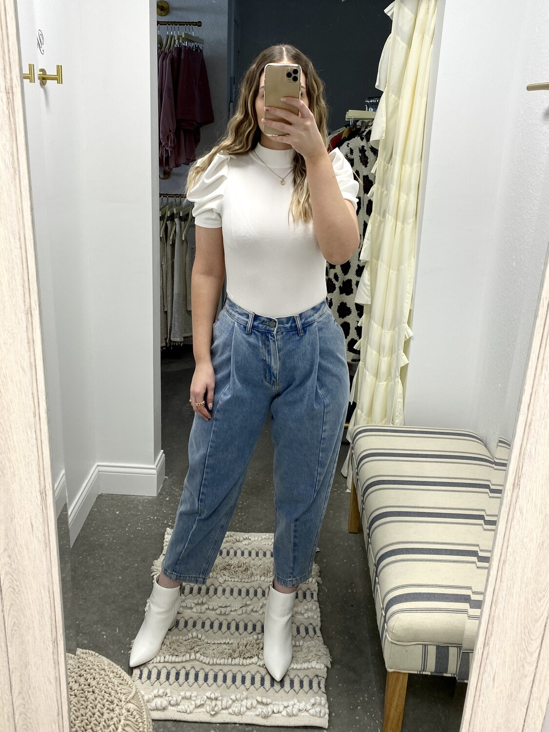 English Factory Mom Pleated Jeans