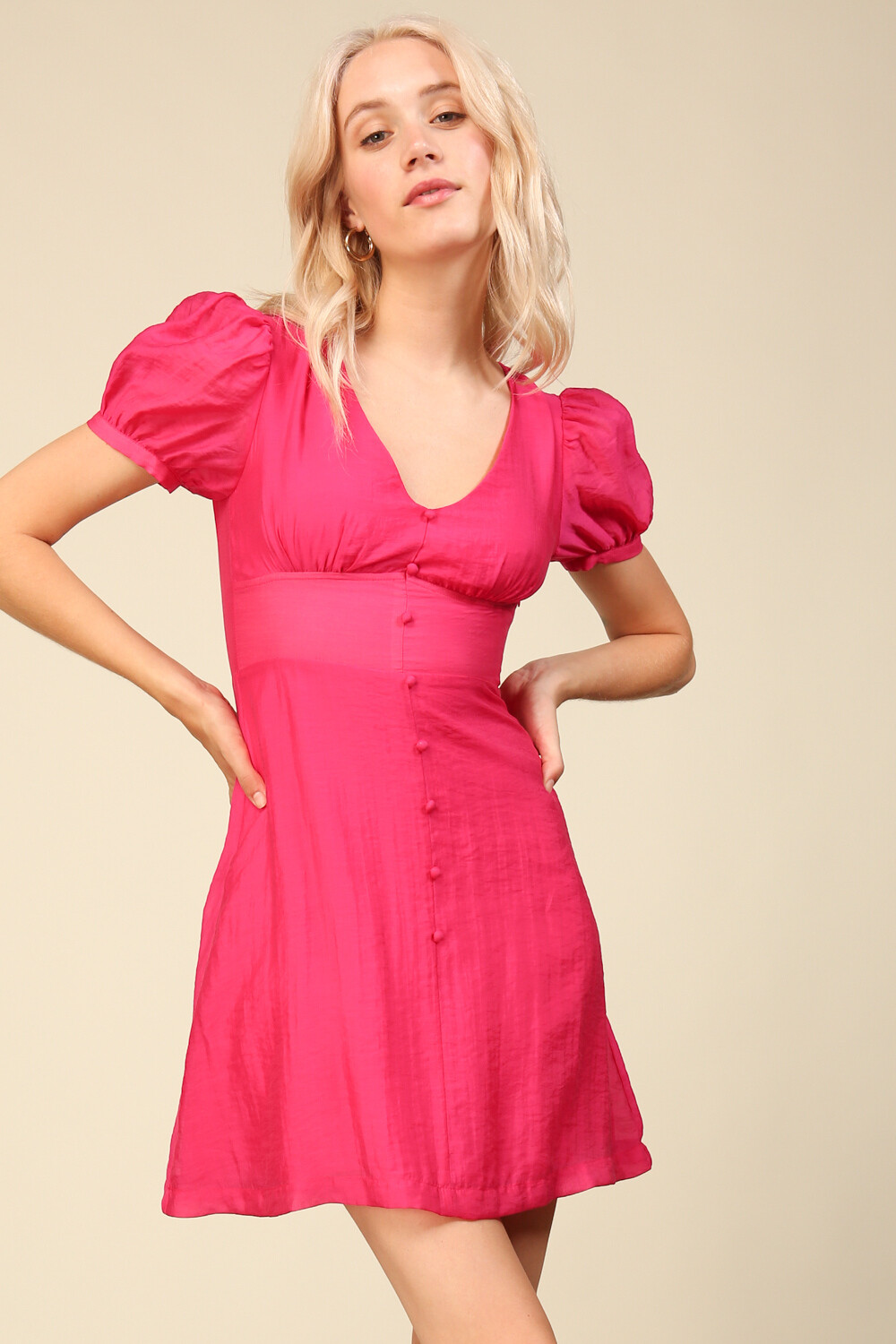 Line & Dot Dehlilal Dress Fuchsia