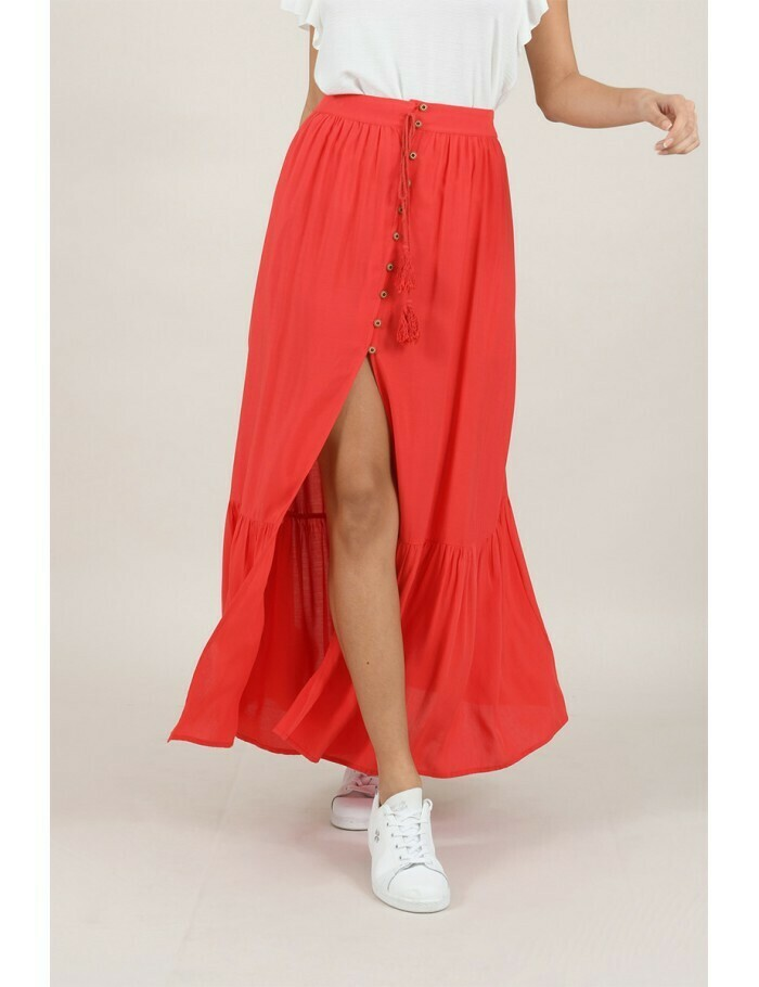 Molly Bracken Button Skirt Red