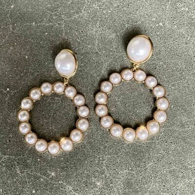 Pearl Hoops Oversized Drop Earrings