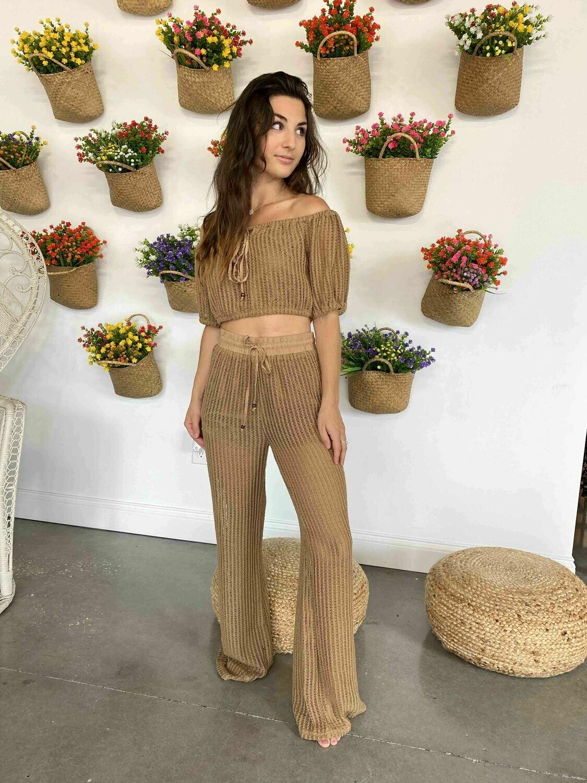 Le Lis High Waisted Crochet Pants