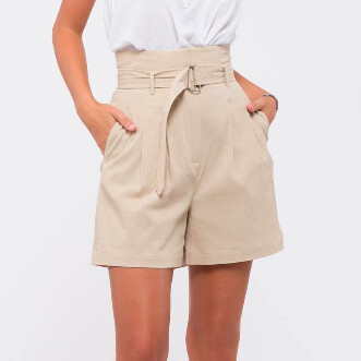 Moon River Belted Shorts Khaki