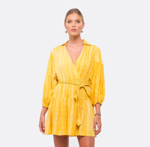 Moon River Yellow Dress with Collar