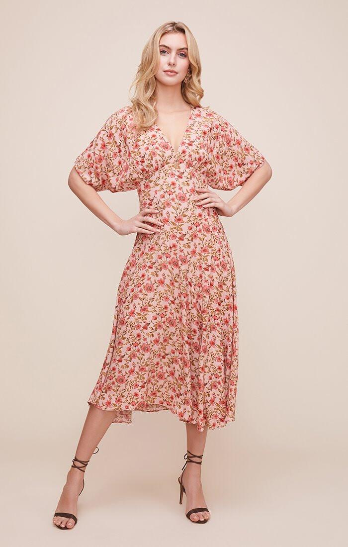 ASTR Dolman V-Neck Floral Midi Dress
