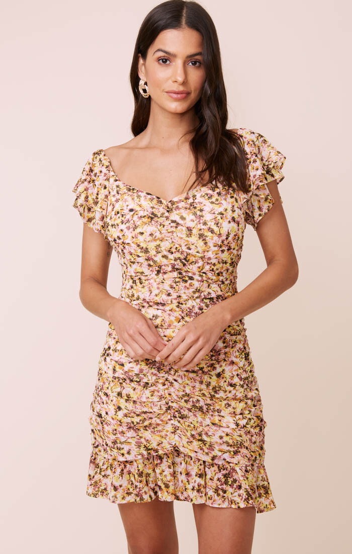 ASTR Shirred Flutter Mini Dress