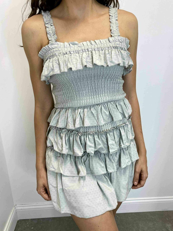 KA Ruffled Smoked Two Piece Skirt Set