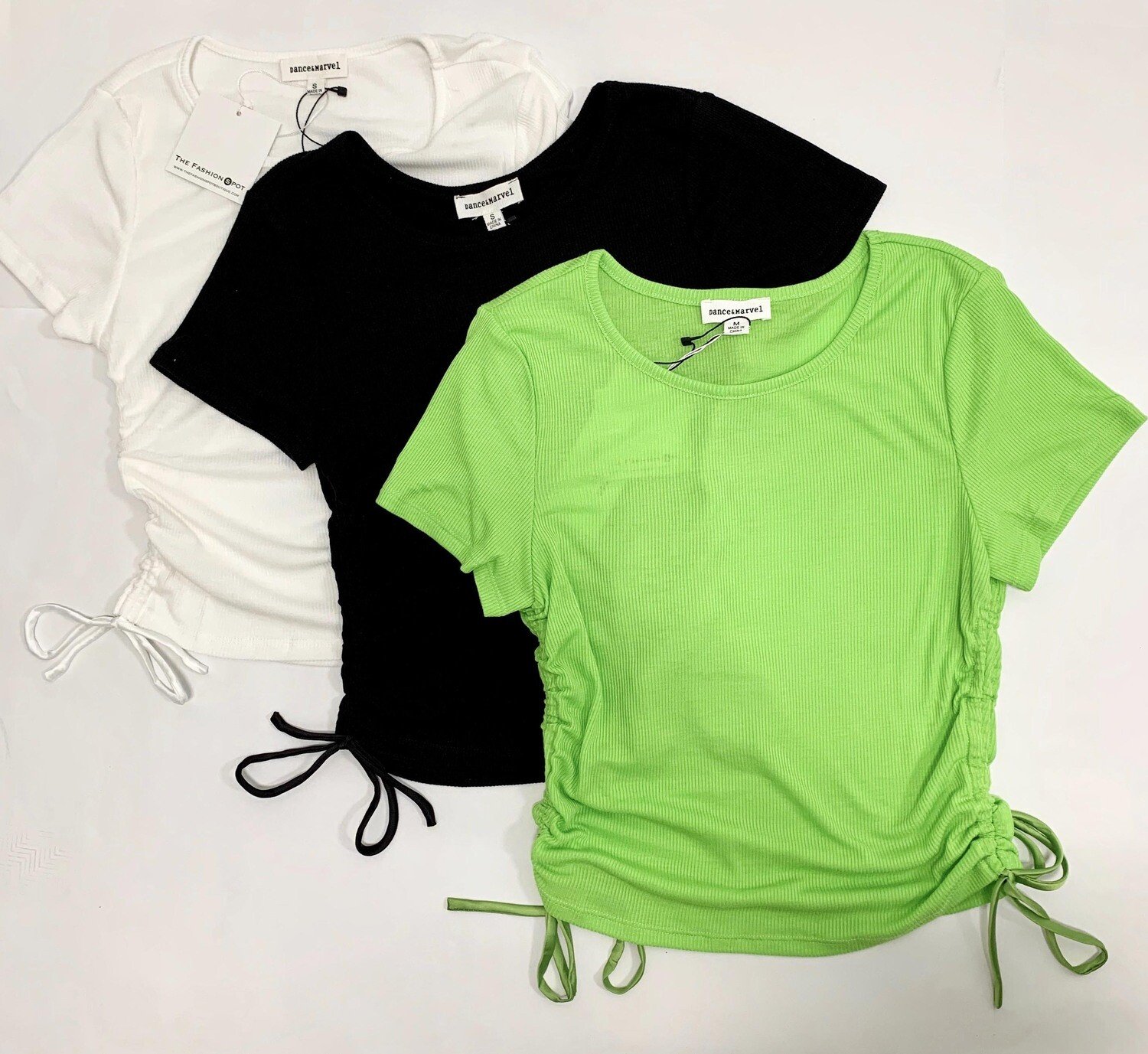 Drawstring Side Short Sleeve Top