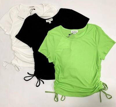 Drawstring Side Short Sleeve Top