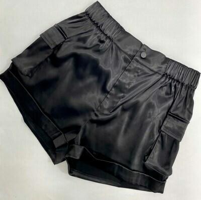 Satin Shorts With Cargo Pockets