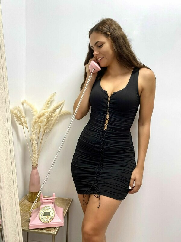 Eunice Lace-Up Ruched Mini Dress