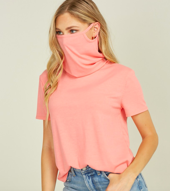 Convertible Cowl Neck Mask T-Shirt