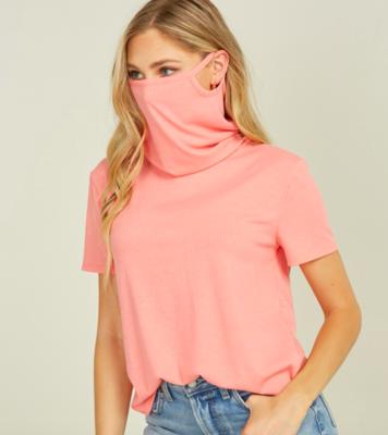 Convertible Cowl Neck Mask T-Shirt