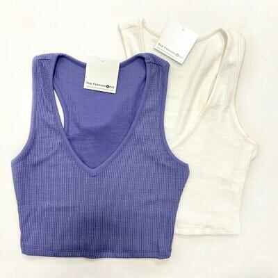 Blue Blush V-Neck Textured Cropped Top