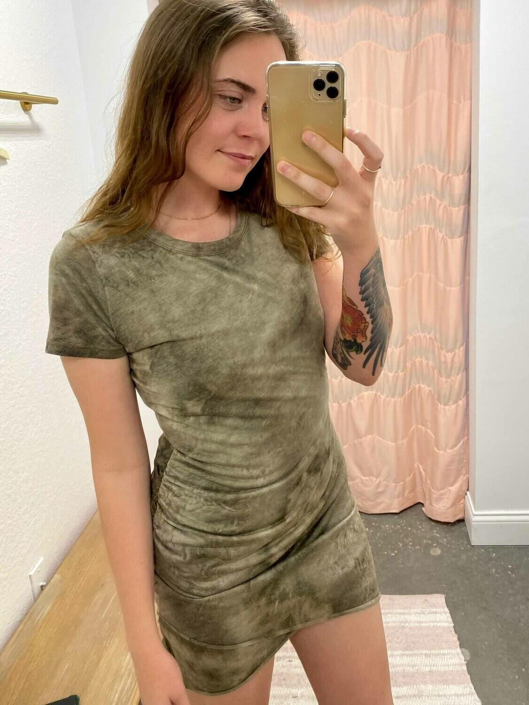 La Miel Tie-Dye Shirred Dress