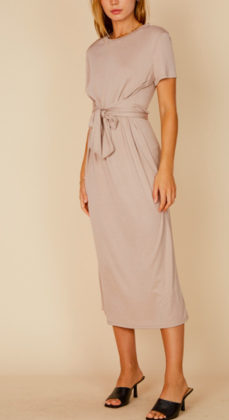 Blue Blush Waist Tie Detail Midi Dress SS