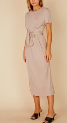Blue Blush Waist Tie Detail Midi Dress SS