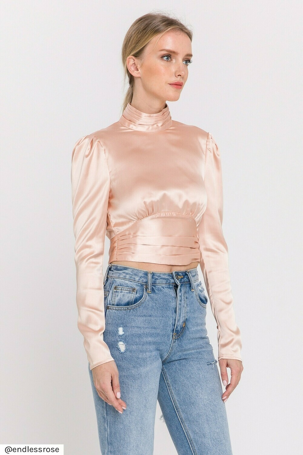 Endless Rose Open Back Satin Blouse