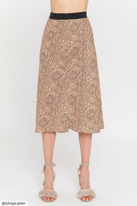 La Ven Dotted Midi Skirt