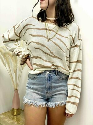 Le Lis Cream-Mocha Zebra Sweater