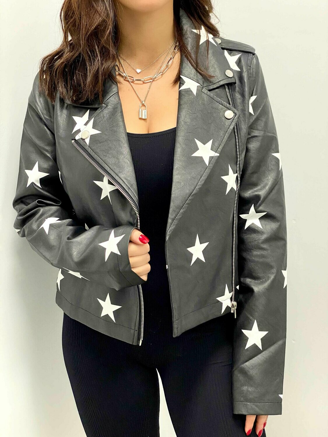 Le Lis Star Leather Biker Jacket