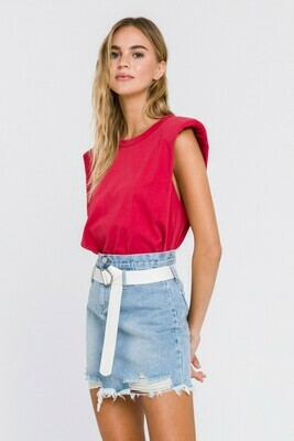 Endless Rose Shoulder Pads Muscle Tee