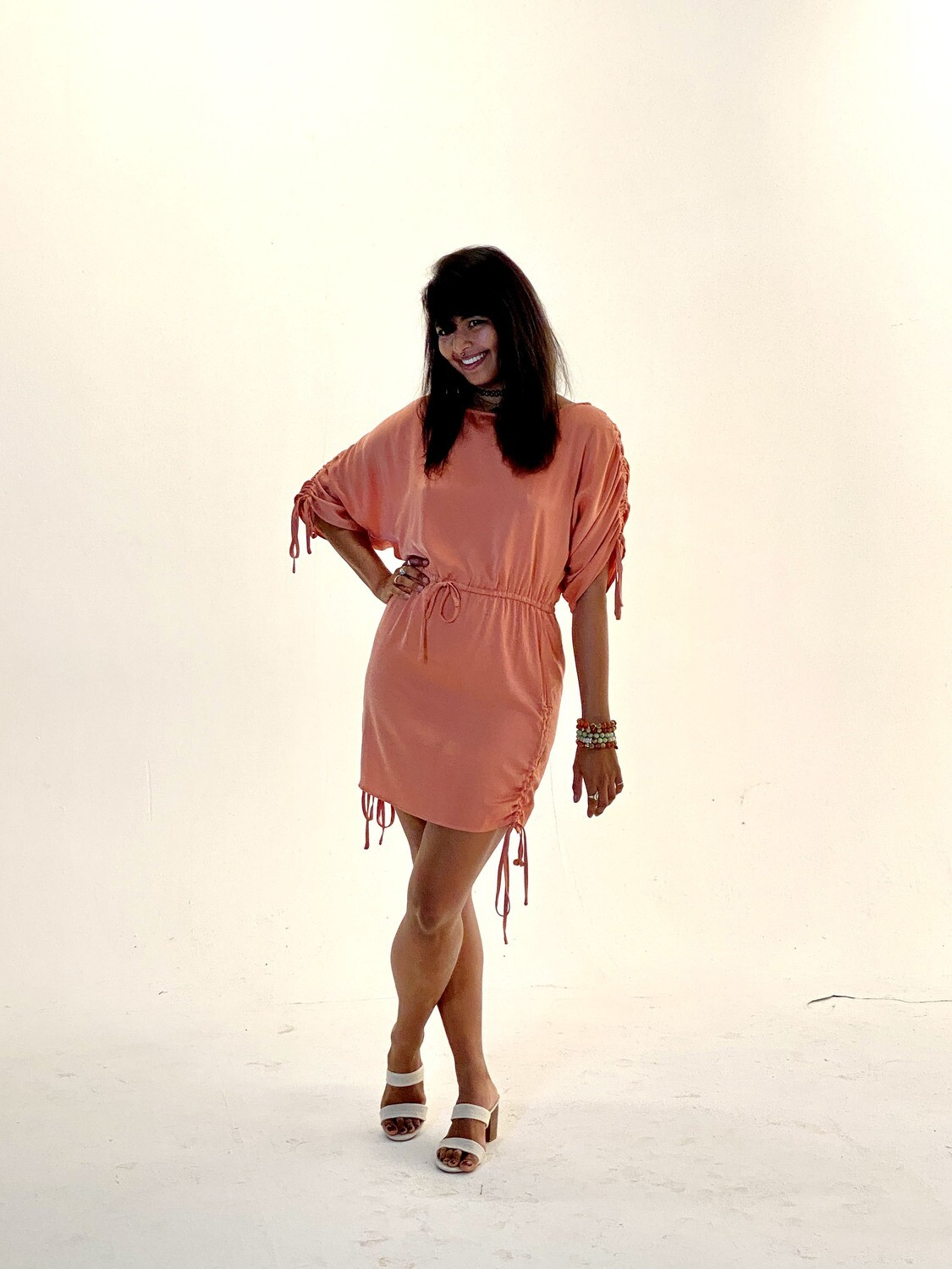 Lalavon Drawstring Sleeve and Side Dress