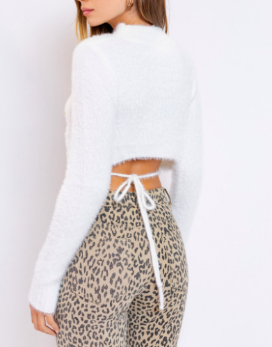Le Lis Fuzzy Tie Back Sweater