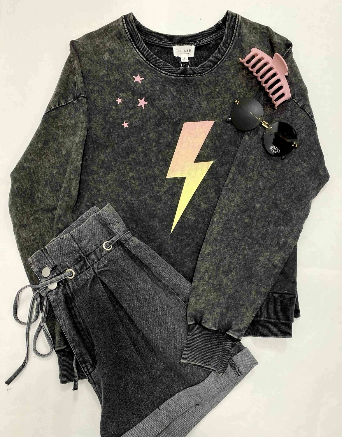 Le Lis Lightening Washed Black Sweatshirt