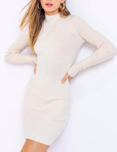 Le Lis Long Sleeve Mock Neck Ribbed Cream Dress